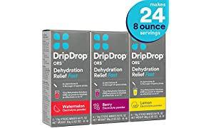 DripDrop ORS Electrolyte Hydration Powder Sticks, Watermelon, Berry, Lemon Flavor Variety 3-Pack, Makes (24) 8oz Servings