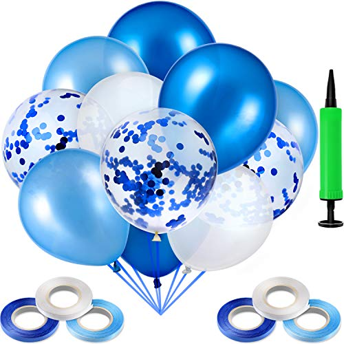 (90 Pieces Latex Balloons Confetti Balloons with 6 Rolls Balloons Ribbons and Air Pump for Wedding Baby Shower Party Decoration Supplies (Light Blue, Blue and)