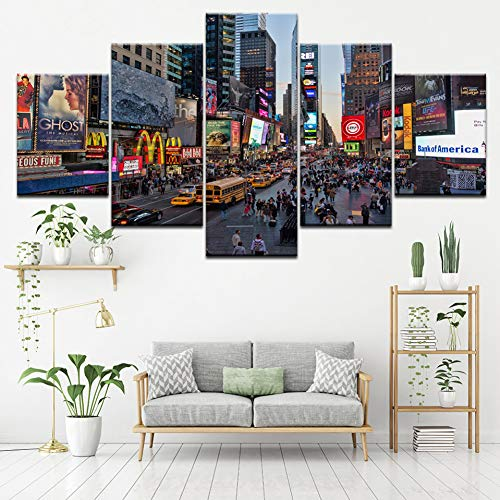 SHUII Framed Canvas Poster Wall Art HD Printed Pictures 5 Pieces Flourishing Times Square New York City Streets Painting Modular Home Decor 30x40cm 30x60cm ()