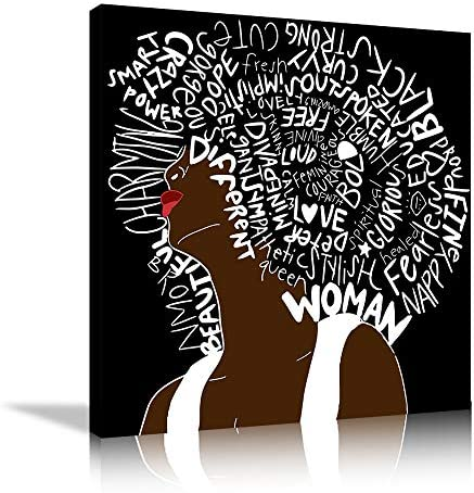 African American Women Letter Art Hair Print Canvas Wall Art Bedroom Home Decor Decal Hippie Bedroom Living Room Painting Poster Abstract Style Decoration Framed Ready to Hang 32''x32''