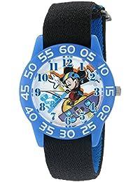 Boy's 'Mickey Mouse' Quartz Plastic and Nylon Watch, Color:Black (Model: W002996)