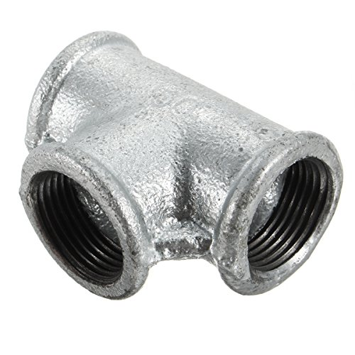 3/4' Malleable Iron (Jeteven Malleable Cast Iron Pipe Fitting, 3/4'' Threaded Tee, Galvanized Finish, Class 150, 3/4'' NPT Female sliver 3/4'')