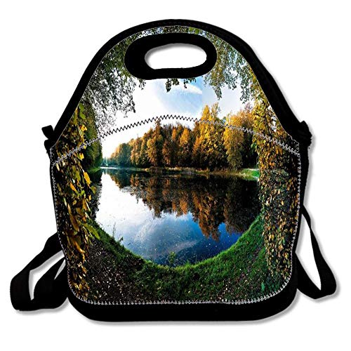 Amazing Forest Pond In Autumn Boys Girls Insulated Neoprene Lunch Bag Tote Handbag Lunchbox Food Container Gourmet Tote Cooler Warm Pouch for School Work Office
