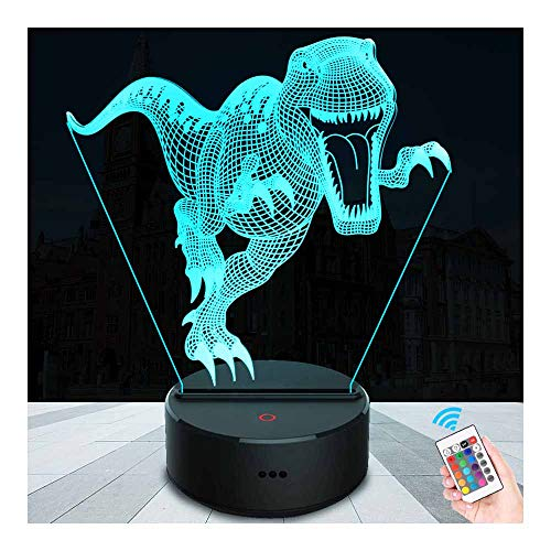 SZLTZK Christmas Gift 3D LED T-rex Dinosaur Night Light 7 Color Touch Switch Remote Control with Battery Compartment USB Cable Dimmable Baby Nursery Lamp Home Decor Birthday Present for Kid Boy Girl