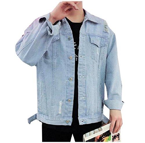 Denim Collar Men Pockets Coat Button Down Howme Turn Jacket Chest 1 0TqwYwF