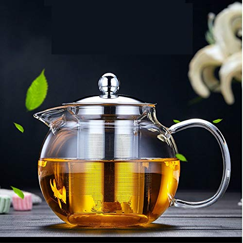 Glass Teapot Tea Kettle - OBOR Borosilicate Glass Tea Maker Stainless Steel with Removable Infuser for Blooming and Loose Leaf, Microwave and Stovetop Safe (Best Glass Teapots)