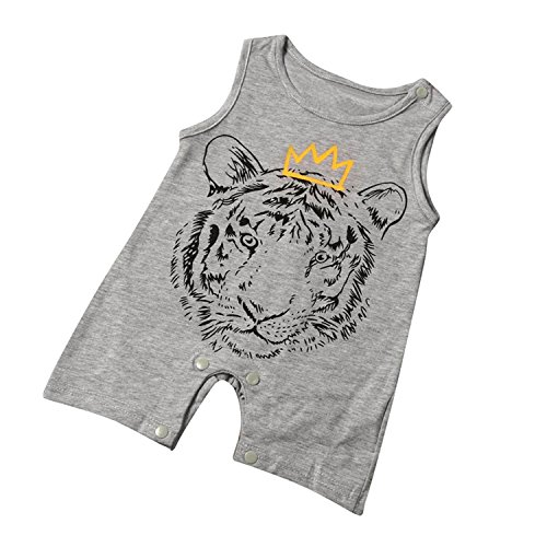 Infant Toddler Baby Boy Romper Jumpsuit Sleeveless Tiger Print Outfit Clothing (3-6 Months) ()