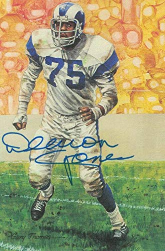 Deacon Jones Autographed/Signed Los Angeles Rams Goal Line Art Blue 11876 - Original NFL Art and Prints ()