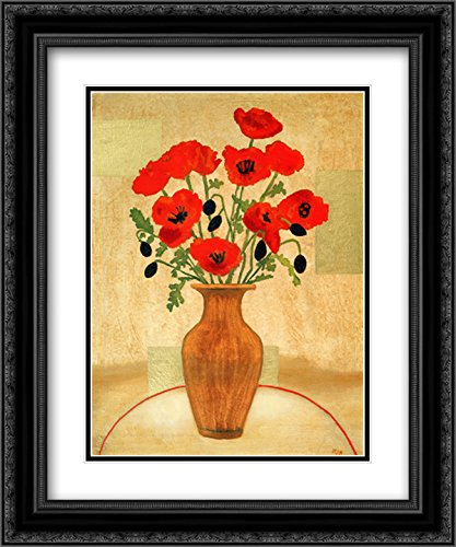 Crimson Poppies 2X Matted 18x15 Black Ornate Framed Art Print by Beverly Jean