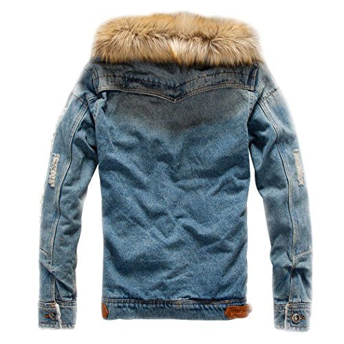 c7f7af0fe76 Sun Lorence Men s Winter Fleece Lined Fur Collar Button Down Patch Denim  Jacket Coats