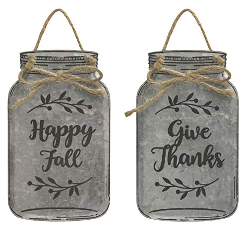 Col House Designs Bundle Give Thanks and Happy Fall Metal Mason Jar Ornaments for Autumn Decor, 6 inches