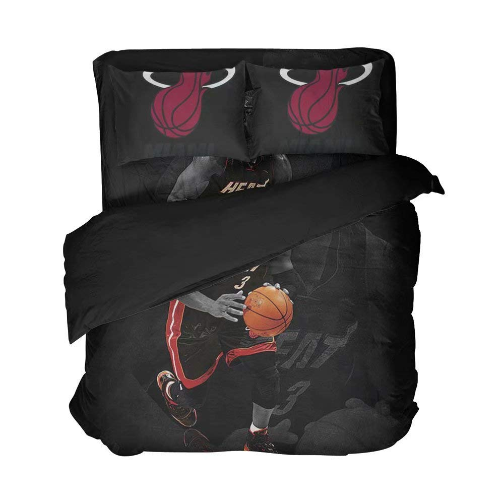 Miami Basketball Player Number 3 Bed Sheet Sets Black Color Clear Pattern Cotton Bedding Set Duvet Coverlets Twin Size(Full 4pcs)