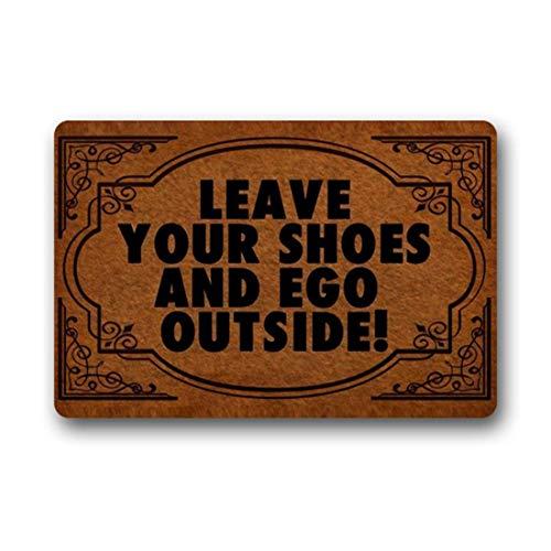 BLINY Doormat Entrance Floor Mat - Funny Doormat Leave Your Shoes And Ego Outside Designed Indoor Outdoor Door Mat Non-woven Fabric Top 23.6x15.7Inch (Pet Tent Ego)
