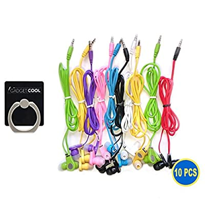 Gadget.Cool 10pcs Pack of 10 Wholesale Bundle Wire Cord Color Simple 3.5mm Earphones Earbuds Headphones Headsets for Android Nexus Samsung Galaxy Sony HTC Motorola iPhone 6/6s 5/5s 4/4s MP3 Media Player