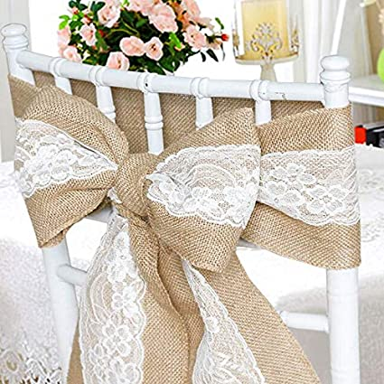 Time To Sparkle Tts 50x Vintage Hessian Sashes Jute Lace Chair