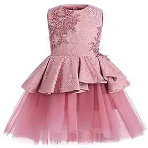 Falda de leotardo para niñas Vestido bordado de flores con ...
