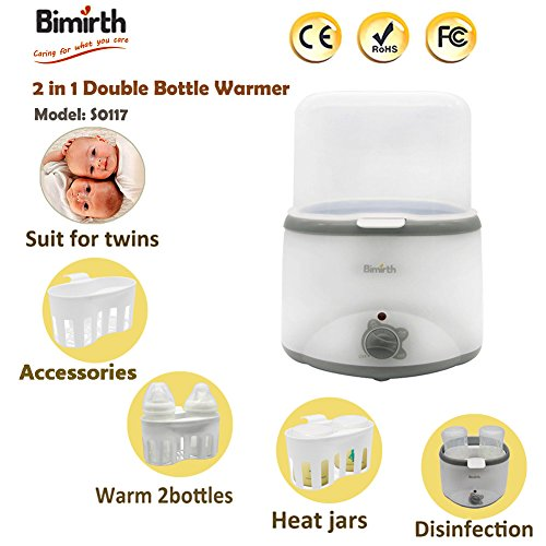 Double Baby Bottle Warmer Sterilizers Constant Quick Serve Bottle Warmer Multifunctional Safe for Milk and Food (White)