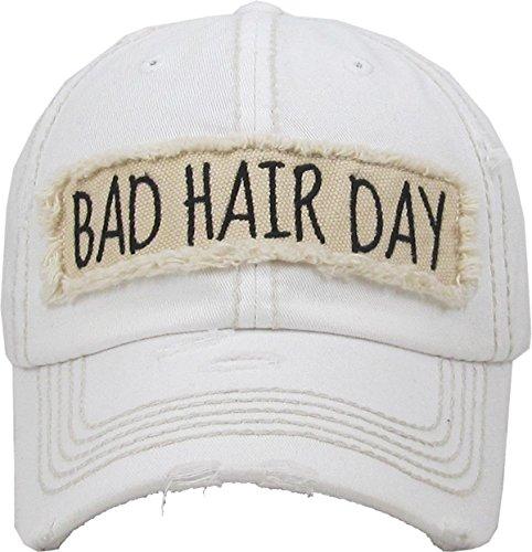 H-212-BHD09 Distressed Baseball Cap Vintage Women Dad Hat - Bad Hair Day ()