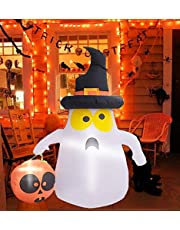 Kyerivs Fantasma Blanco Inflable de Halloween de 4 pies con Linda luz de Calabaza de Mano para decoración de jardín de césped al Aire Libre de Vacaciones