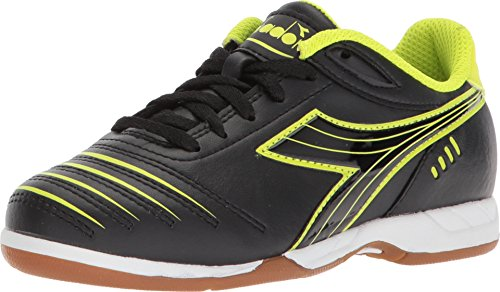 Diadora Kids Cattura ID JR Soccer (Little Kid/Big Kid) Black/Yellow Flou 13 Little Kid
