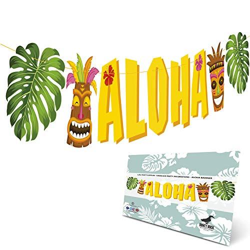 Aloha Banner Luau Party Supplies - Hawaiian Party Decorations - Luau Party Decorations - Pre-Assembled Large Size Aloha Sign Hawaiian Decor For Tropical Pool Jungle Party]()