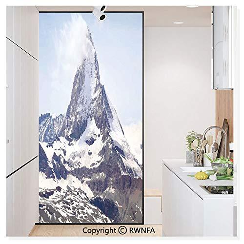 - RWN Film Window Films Privacy Glass Sticker Matterhorn Summit with Cloud Mountain Scenery Glacier Natural Beauty Static Decorative Heat Control Anti UV 30In by 59.8In,Blue White Black