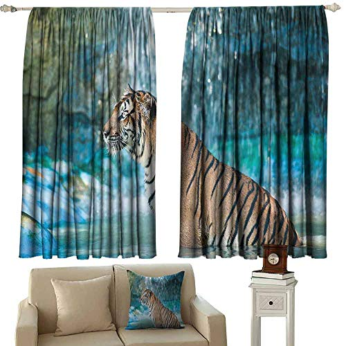 (DUCKIL Room Darkening Wide Curtains Tiger Feline Beast in Pond Searching for Prey Sumatra Indonesia Scenes Blackout Draperies for Bedroom Window W72 xL45 Turquoise Light Brown Black )