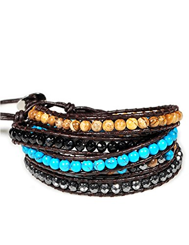 Eudora Harmony Bola Agate Turquoise Beaded Brown Leather Wrap Bracelet 5 Wraps Beaded Leather