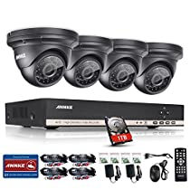 ANNKE 8CH HD-AHD 1080N DVR Recorder with 1TB Hard Drive Home Security System and (4) 1.0MP 1280x720 Weatherproof Indoor & Outdoor CCTV Cameras