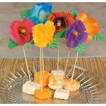 Picks 6 inch Hibiscus Flower 144 pc by Fun Express Fun Cocktail Picks