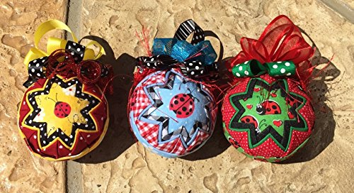 Ladybug Summer Spring Fabric Quilted Ornament Ball (Ladybug Quilted)