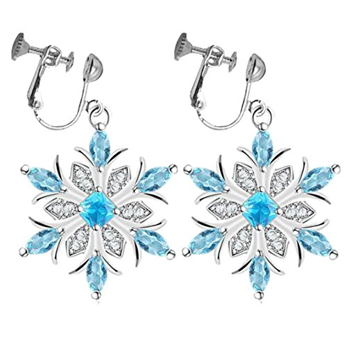 Sweet Clip on Dangle Earrings Blue Crystal Snowflake Flower Winter Christmas Gifts for Kids Girls ()