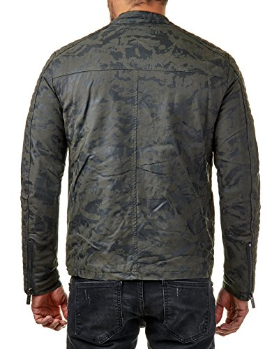 E Biker Cotone Trapuntati Giacca Elementi Pelle Uomo In Stile Da Redbridge Mimetico Vera Con nw8xqI6IBz