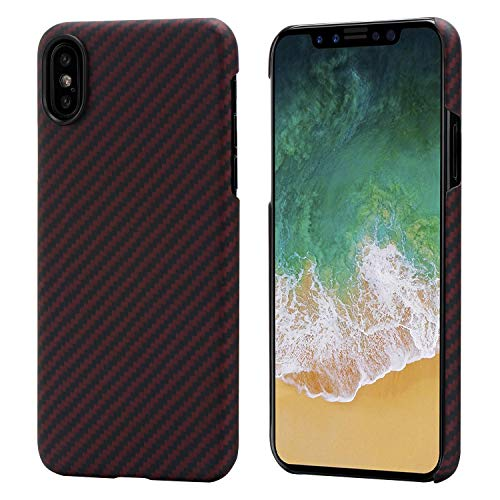 PITAKA Slim Case Compatible with iPhone X 5.8, MagEZ Case Aramid Fiber [Real Body Armor Material] Phone Case,Minimalist Strongest Durable Snugly Fit Snap-on Case - Black/Red(Twill)