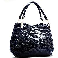 PUGLIFE Black Embossed Criss-cross PU Leather Top Handle Bag Fashion Women HandBag Socialite Dress Bag