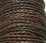 3mm - Round - Bolo (Braided) Leather Laces Available in 1 Yard, 2 Yards, 5 Yard, 10 Yards & 25 Yards -Packing (5 Yards, Ant. Dark Brown (653))