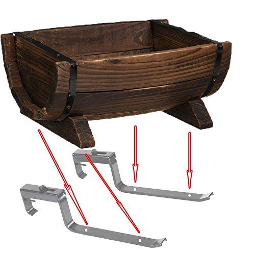 Quickway Imports Half Barrel Brown Wood Adjustable Deck Railing Planter Half Barrel Adjustable Deck Railing Planter 16'' by Quickway Imports (Image #5)