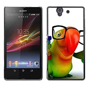 Be Good Phone Accessory // Dura Cáscara cubierta Protectora Caso Carcasa Funda de Protección para Sony Xperia Z L36H C6602 C6603 C6606 C6616 // Cute Friendly Parrot