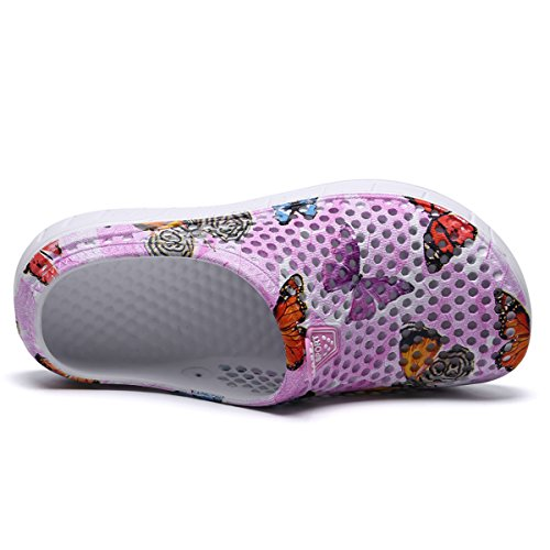 Shoes WLLH Water Slip Women Shoes Clog Footwear Slippers Breathable Beach Walking Sandals Mesh Butterfly Shower Summer Garden Pink Anti 7pAwqrn7PW