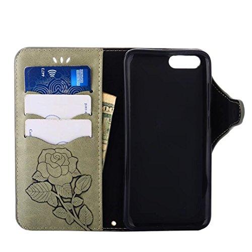 Hülle Xiaomi Mi 6 Handyhüllen, Ougger Fabric Design Tasche Leder Schutzhülle Bumper Schale Weich TPU Silikon Magnetisch-Stehen Beutel Flip Cover hülle Tasche Xiaomi Mi6 mit Kartensteckplätzen, Blumend Gras