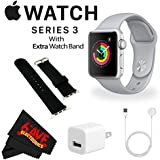 6Ave Apple Watch Series 3 42mm Smartwatch (GPS Only, Silver Aluminum Case, Fog Sport Band) + WATCH BAND BLACK 42MM + MicroFiber Cloth Bundle