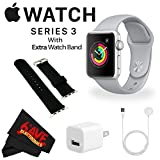 Apple Watch Series 3 38mm Smartwatch (GPS Only, Silver Aluminum Case, Fog Sport Band) MQKU2LL/A + WATCH BAND BLACK 38mm + MicroFiber Cloth Bundle