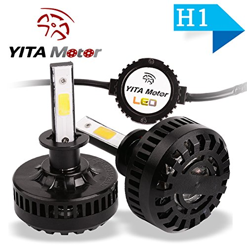 YITAMOTOR H1 LED Headlight Bulbs 120W 12000LM 6000K 4-Sided COB Led Single Beam Cool White Led Light Bulbs