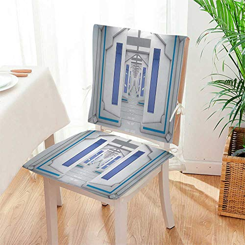 Chair Pads 2 Piece Set Robotic Mission Vehicle Solar System Journey to Universe Garden Home Kitchen Mat:W17 x H17/Backrest:W17 x H36 by Mikihome