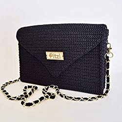 PITZI Bolso folder tejido a crochet en color negro