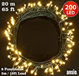 Fairy Lights 200 LED Warm White Christmas Tree Lights Indoor & Outdoor String Lights 8 Functions 20m/65ft Lit Length with 3m/10ft Lead Wire - Power Operated LED Fairy Lights - Ideal for Christmas Tree, Festive, Wedding/Birthday Party Decorations LED String Lights (200 LED 23M) - GREEN CABLE - INDOOR & OUTDOOR Us