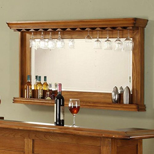 ECI Furniture Wine Rack Bar Mirror, Burnished Oak Review
