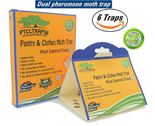 Dual Moth Traps For Clothes and Pantry Highly Effective ALL-AROUND MOTH TRAPS,Pro Cloest Essentials Get Rid Of Wool Moths With Natural Safe and Odor-free Dual Premium Pheromone by PTCLTRAPS8