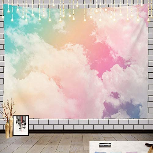 Batmerry Sun Cloud Pastel Tapestry, Pastel Rainbow Pink Blue Yellow White Colorful Picnic Mat Hippie Trippy Tapestry Wall Art Decor for Bedroom Living Room, 59.1 x 82.7 Inches, Rainbow Blue Pink