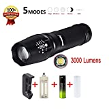 Lolipp 3000 High Lumen Ultra Bright G700 LED Zoom Flashlight X800 Military Tactical Torch Battery Charger with Adjustable Focus and 5 Light Modes for Camping Hiking